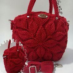 Embossed crochet bag