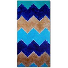 Trademark Fine Art Blue and Gold Chevron Canvas Art by Nicole Dietz, Size: 24 x 47, Multicolor