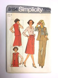 Vintage Sewing Pattern Women's 70's Uncut, Simplicity 8154, Blouse, Pants, Wrap Skirt (XS) by Freshandswanky on Etsy