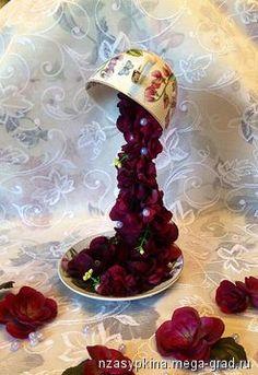 """Парящая чашка """"Винтажная страсть"""" - изделия в винтажном стиле, цветы/флористика/букеты для интерьера. МегаГрад - online выставка-продажа авторской ручной работы"""