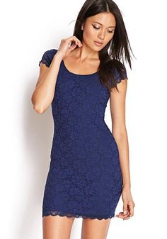 Navy Blue Plain Ruffle Lace Dress