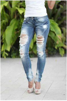 In love with these distressed skinny jeans!!   http://savedbythedress.com/collections/new-arrivals?page=2