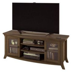 Altra Oakridge Homestead Oak TV Stand with Glass Doors for TVs up to 60 inch, Gray