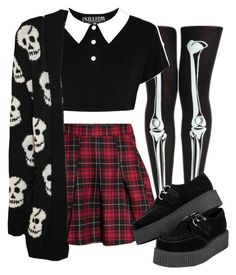 """Cute goth"" by duskull ❤ liked on Polyvore featuring H&M, Killstar and WearAll"