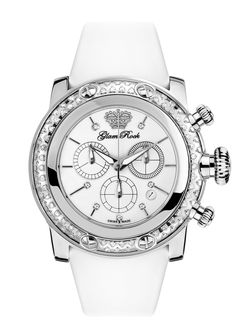 GR11131D: Stainless Steel with Diamonds Case Cover and White Technosilk Strap