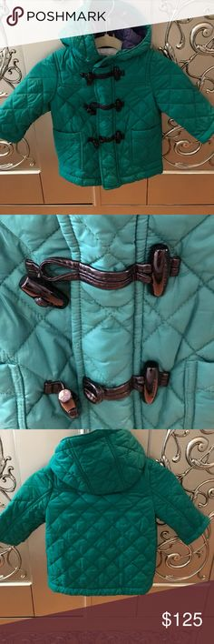 Burberry Infants Winter Coat The beautiful hue of green is an eye catcher!! From the vibrant color to the adorable toggle and zipper closure this coat is sure to be pleasing to the fellow fashionista! In excellent condition!!! Burberry Jackets & Coats Puffers