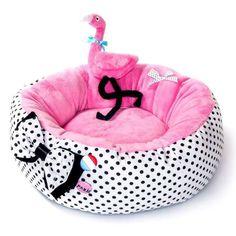 Dog bed with flamingo - dog accessories Dog Training Bells, Training Your Dog, Training Pads, Puppy Beds, Pet Beds, Online Pet Supplies, Dog Supplies, Pink Dog Beds, Designer Dog Beds