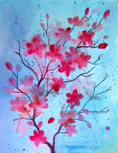 Two ways to paint watercolor blossoms with easy step by step tutorials.