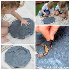 Kid Projects / Make garden stepping stones with the kids. Art for the ...