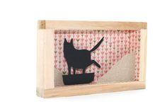 cat framed art shadowbox funny cat art black cat by fuffernutter