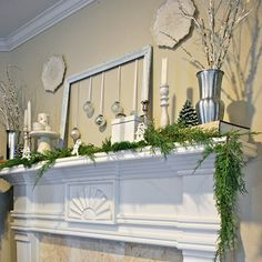 I like the use of the empty frame in this Christmas mantle - I have a lot of frames and old windows that I use in decorating my home.