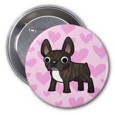 French Bulldog Love (black brindle bicolor) Button