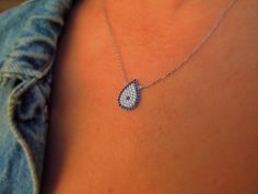 Drop necklace - Evil eye necklace - evil eye - protection jewelry - kaballah jewelry - Gifts for Her - blue necklace - mom gift - girlfriend by ebrukjewelry on Etsy