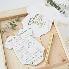 Baby Shower Gift Advice Cards .Looking for Baby Shower gift ideas then pass on your wise words and wisdom for the glowing mummy to be with these adorable advice cards. With elegant gold foil edging and details, these advice cards make for some beautiful memories to treasure for years to come.The fun advice card allows guests to fill in sentences with their choice of words and even has a drawing square to show off their inner artist!