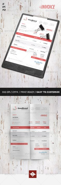 Creative Invoice Photoshop, Stationery and Letters