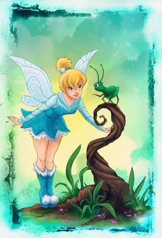 Tinkerbell Blue by clefchan on DeviantArt Tinkerbell Drawing, Tinkerbell Fairies, Disney Fairies, Tinkerbell And Friends, Peter Pan And Tinkerbell, Peter Pan Disney, Disney Fan Art, Disney Love, Disney Magic