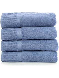 Bare Cotton Luxury Hotel & Spa Towel Turkish Cotton Bath Towels, Piano, Wedgewood, Set of 4 ❤ Bare Cotton