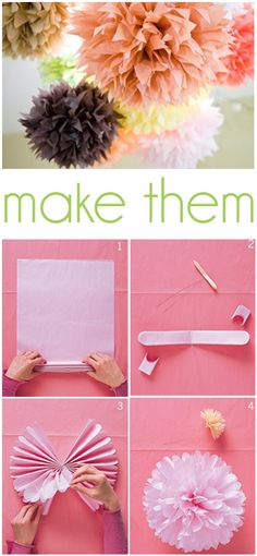 "How to make party pom-poms -  About 60 years ago my Mom showed me how to make these with regular tissues and hold it together with a bobby pin. When we finished we would take one of her lipsticks and ""very"" gently touch the edges to give them some color. Oh what fond and happy memories! :)"