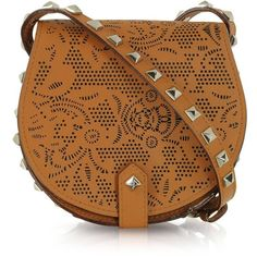 Rebecca Minkoff Skylar Mini Brown Perforated Leather Crossbody found on Polyvore
