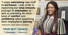 """""""I take pride in being a reliable resource for the Karmanos team. Being able to answer questions and provide guidance is very rewarding."""" - Chavonia W., human resource consultant. Learn more at www.karmanos.org #YourBestChance"""