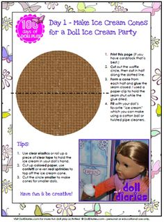Printable doll sized ice cream cone pattern
