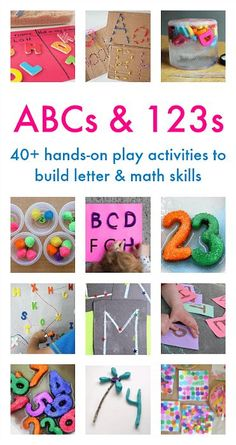 ABCs and 123s: 40 + Hands-on Play Activities to Build Letter and Math Skills- including games and activities related to counting, addition, the alphabet, name practice, letter formation and more!  #ece #kindergarten #preschool #abc #alphabet #counting #mathforkids Preschool Learning Activities, Alphabet Activities, Hands On Activities, Preschool Activities, Abc Alphabet, Literacy Games, Learning Games, Hands On Learning Kindergarten, Preschool Alphabet
