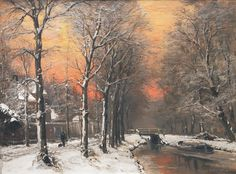 Winter am Kanal. Louis Apol. 1850-1936.