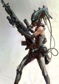 future, cyberpunk, cyborg, weapon, cyber girl, futuristic, girl warrior, sci-fi, future warrior, cyber helmet, science fiction