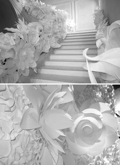 Love the staircase decoration! I could see this easily translated for holidays (Easter pastels, Christmas-white/ gold or traditional colors).  latest trends in interior decorating and recycling paper