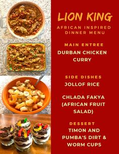 Disney Themed Food, Disney Inspired Food, Disney Food, Disney Dinner, Disney Menus, Dinner Date Recipes, Date Dinner, Curry Side Dishes, King Food