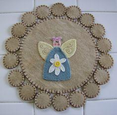 Garden Angel Wool Penny Rug by QuiltgirlsCreations