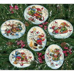 """Dimensions Gold Collection """"Playful Snowman"""" Ornaments Counted Cross Stitch, Up To 4-1/2"""", Set of 6"""
