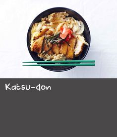 Katsu-don is an amalgamation of the Japanese words for pork cutlet (tonkatsu) and rice bowl (donburi). This popular dish is so much more than the sum of its parts. Served with a crisp green salad or sauteed vegetables, it's perfect for a mid-week dinner. Dishes Recipes, Pork Dishes, Pork Recipes, Japanese Recipes, Japanese Food, Greek Dinners, Tonkatsu, Pork Cutlets, Sauteed Vegetables