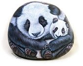Mommy Panda with Baby - Hand painted stone by Ernestina