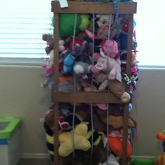 Stuffed animal zoo. I want to do this with wooden crates.