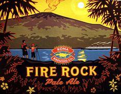 Fire Rock by Kona Brewing Co. Hawaiian Designs, Hawaiian Art, Kona Brewing, Brewing Co, Hawaii Vintage, Fire Rocks, Hawaii Pictures, Hang Ten, Wine And Spirits