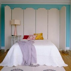 Screened In  Placing a multipanel decorative screen behind a bed creates the feel of an intimate retreat for rest and relaxation. A screen also adds to the architecture of the room. A patterned screen is a smart alternative to wallpaper.—pinned from One Kings Lane