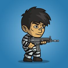 Prisoner guy character sprite is great for enemy in your side scrolling shooter games (metal slug-like). Buy and sell game assets. 2d Character, Game Character Design, Character Design Inspiration, Soldier Drawing, Army Drawing, Game Assets, Cool Drawings, Prison, Animation