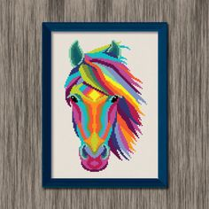 Instant download PDF cross stitch pattern of a colorful horse head with a flowing mane!  Pattern includes colored grid and DMC color chart (on second page of pdf) Size: Approximately 5.3 x 8.5 (14 count Aida) 74 stitches wide, 118 stitches tall 16 colors  Original Art by DJStitches  For personal use only. Please do not reproduce or sell this item.  HOW TO DOWNLOAD YOUR DIGITAL FILES: https://www.etsy.com/help/article/3949?ref=help_search_result