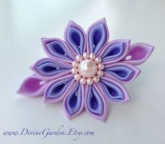 Handmade Kanzashi Satin hair clips  Purple Flower by DivineGarden
