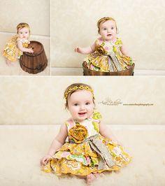 Pittsburgh bebê fotógrafo, vestido de bebê amarelo