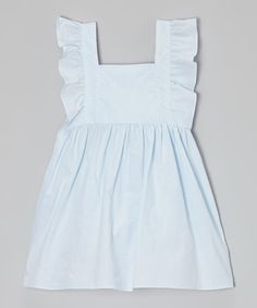 Take a look at this Light Blue Pinafore Dress - Infant, Toddler & Girls on zulily today!
