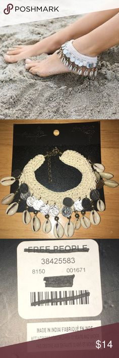 NWT Free People avoca shell anklet Hemp anklet with silver 'coins' and avoca shells! Free People Jewelry