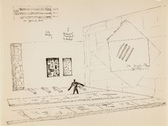 Frederick Kiesler, Studies: Art as Architecture of De Stijl, c. 1925, Ink on paper, 8 1/2 x 11 inches. Image Courtesy of Jason McCoy Gallery.