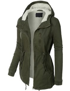 http://www.lookingwear.com/category/jacket/ LE3NO Womens Sherpa Lined Anorak Parka Jacket with Hoodie