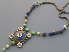 Vtg Art Deco Jazz Era Czech Hungarian Enamel Lapis Blue Peking Glass Necklace