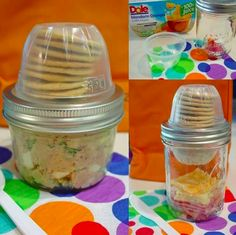 An empty Dole container and mason jar make the perfect pair for a snack carrier.