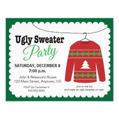 Sold! Ugly Sweater Christmas Party Invites