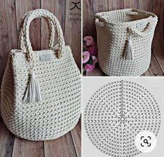 Bag Crochet, Crochet Handbags, Crochet Purses, Crochet Crafts, Crochet Clothes, Crochet Bag Tutorials, Crochet Patterns, Crochet Storage, Diy Handbag