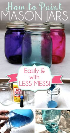 Painting or tinting jars can be pretty sloppy work. With our great tips you will learn not only how to paint mason jars easily but with very little mess! jar Crafts How to Paint Mason Jars Easily with Less Mess Chalk Paint Mason Jars, Painted Mason Jars, Painting Glass Jars, Colored Mason Jars, How To Paint Glass, Painting Canning Jars, Staining Mason Jars, Diy Painting, Mason Jar Gifts